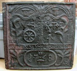 """Stove plate, """"God's Well Has Water in Plenty"""" """"W.B. of 1748"""""""