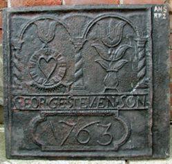 """Stove plate, """"George Stevenson , 1763"""""""