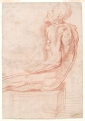 Study of a Seated Old Man (recto); Copy (by an unknown artist) after a study by Perino del Vaga for the Sala Paolina, Castel Sant'Angelo (verso)