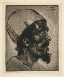 Male head (of a blind man?) in profile