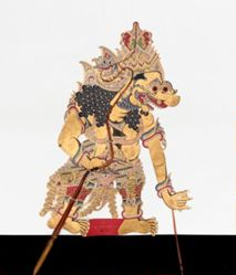 Shadow Puppet (Wayang Kulit) of Kumbakarna or Buto Raton, from the consecrated set Kyai Nugroho