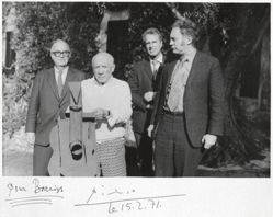"""Walter Bareiss (then acting director of the Museum of Modern Art) with Pablo Picasso,  Ernst Beyeler, and William Rubin, on the occasion of Picasso's gift of his """"Guitar""""  construction to the MoMA, Spring 1969"""