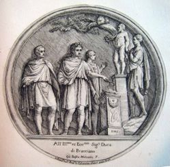 Four Romans surrounding a statue, after a roundel from the Arch of Constantine in Rome