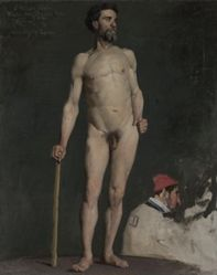 Study of a Male Nude Leaning on a Staff
