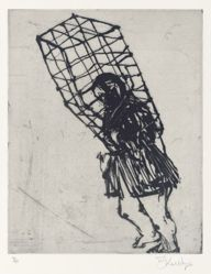 Zeno at 4am (caged woman) 2001, from suite of 9 etchings