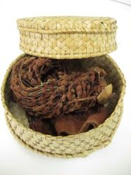 Basket with Handspun Cotton Balls (Kapok)