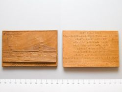 Wood plaquette commemorating the building of the Brooklyn Bridge