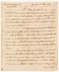 Letter of John Trumbull (1756-1843) to President Madison dated 1st Oct. 1823
