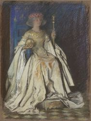 A Queen Enthroned, in gold dress