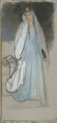Study, Woman in green and blue dress with white veil