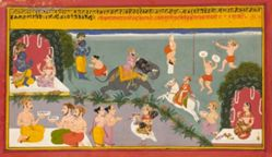 Krishna and Radha with Astrologers and Entertainers, from a Song of Govind (Gita Govinda) manuscript