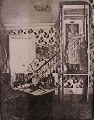 "Interior view of Katherine S. Dreier's Milford home, ""Laurel Manor"" -- KSD in elevator, standing, frontal"