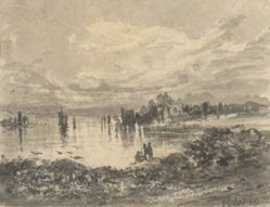 View of Lake and Mountains with Figures