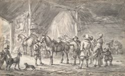 Peasants and Horses in a Stable