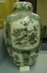 One of a pair of Famille Verte Covered Jars