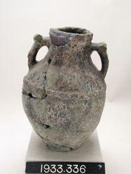 Two-handled green-glazed amphora