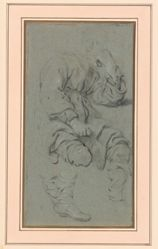 """Studies of a seated man (Study for """"Elisa and the Samaritan"""", Warsaw)"""