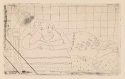 Figure allongée sur un lit d'acajou (Figure lying on a mahogany bed)