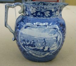 "Pitcher with a view of ""The Landing of the Fathers at Plymouth"""