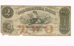 Two dollar note of the Colchester Bank