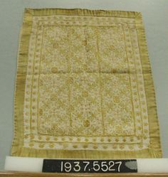 Cover made up of bands of linen embroidered in silk