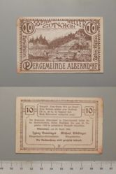 10 Heller from Alberndorf, issued 25 April 1920, redeemable 31 Dec. 1920, Notgeld