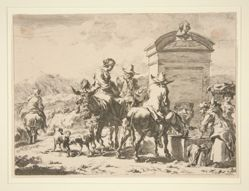 Untitled - Genre scene with people on donkeys and a tombstone