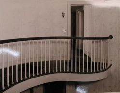 "Photograph of second story stairwell of Katherine S. Dreier's West Redding home, ""The Haven"""