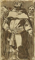 A Saint Flanked by Two Men (recto); Vulcan and Venus(?) with Putti (verso)