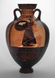 Panathenaic Prize Amphora: A: Athena, B: Four-horse chariot