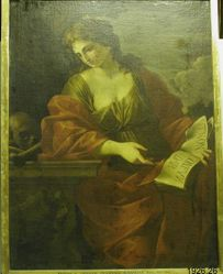 Female Figure Heavily Draped in Red