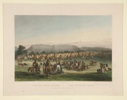 Encampment of the Piekann Indians, from the book Maximilian, Prince of Wied's, Travels in the Interior of North America (London: Ackermann & Co., 1841)