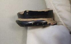 Black glazed skyphos foot fragment