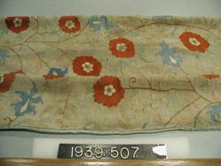 Square of plain cloth, cotton, embroidered in silk