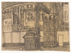 Untitled (interior with wood stove)