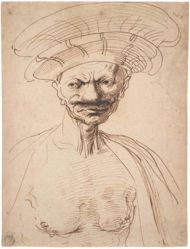 Caricature of a Man Wearing a Large Hat