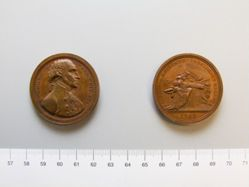 """Mint reproduction in brass of medal commemorating the retirement of George Washington (""""Sansom medal"""")"""