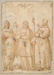 Saint John, Saint Charles Borromeo, and Saint Francis beneath the Dove of the Holy Spirit