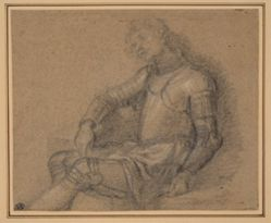 Half-Length Female Figure (recto); Seated Soldier in Armor (verso)