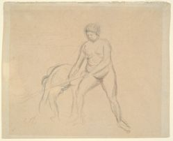 Study of Two Female Figures (recto); Female Figure Seated in a Landscape (verso)