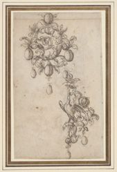 Two designs for brooches with pearl drops (recto); Design for a brooch (verso)