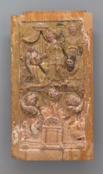 Pair of polychromed and gilded wooden sculptured panels: a. Judith with the head of Holefernes, b. The Sacrifice of Isaac