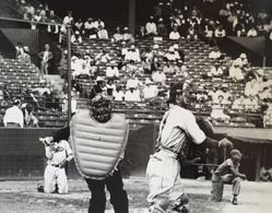 Umpire and Catcher during game at Randall's Island, NY
