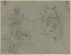 Recto: Two Angels; Verso: Male Nude