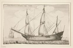 A Dutch Freighter, from Navium varie figurae, number twelve of a series of twelve etchings of Dutch ships