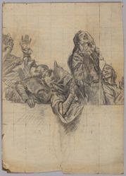 """Figure study for """"The Arthurian Round Table and the Fable of the Seat Perilous,"""" the third in a series of fifteen murals illustrating """"The Quest and Achievement of the Holy Grail,"""" for the second-floor Book Delivery Room of the Boston Public Library"""