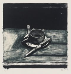 Cup, Saucer, Fork, and Knife