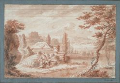 Landscape with tombs and two figures