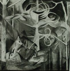 "Photograph of Franz Marc's ""Deer in a Forest,"" oil [Phillips Collection] -- from Katherine S. Dreier's private collection"