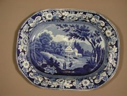 Platter with a view of the Catskill on the River Hudson, View Near